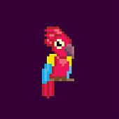 parrot pixel icon. Pixel art. Old school computer graphic. 8 bit video game. Game assets 8-bit sprite.