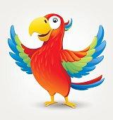 Cartoon cute parrot. Vector illustration on light background.