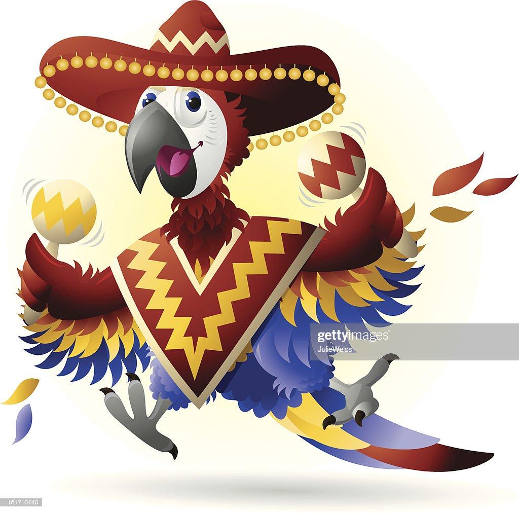 Parrot wearing a sombrero. : Vector Art