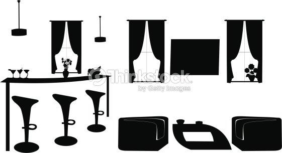Teil Der Modernen Wohnzimmer Mit Modernen Möbelnsilhouette