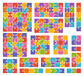 Parts of puzzles on white background in colored colors. Set of puzzle 2, 3, 4, 5, 6, 8, 9, 10, 12, 13, 16, 18, 25, 36 pieces