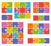 Parts of puzzles on white background in colored colors. Set of puzzle 2, 3, 4, 6, 8, 9, 16 pieces