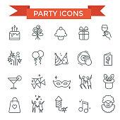 Party celebrate, happy birthday icons, thin line design
