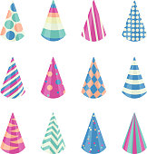 Party different hats collection for a birthday celebration, new year and other holidays. Vector illustration eps10