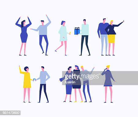 Party - flat design style set of isolated characters : stock vector