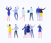 Party - flat design style set of isolated characters on white background. Happy standing people sharing presents, making selfie, dancing, clanging glasses, singing, hugging