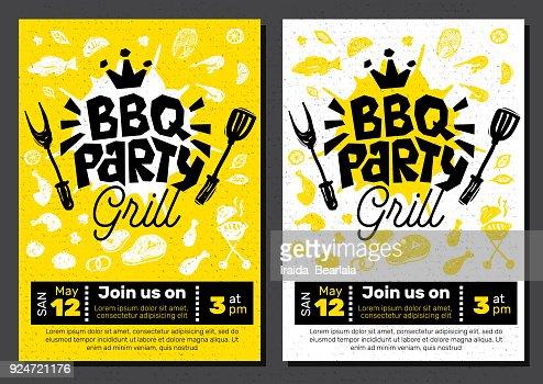 Affiche De Nourriture Party Bbq Barbecue Modele Menu Invitation