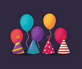 party hats with colorful balloons over purple background, colorful design. vector illustration