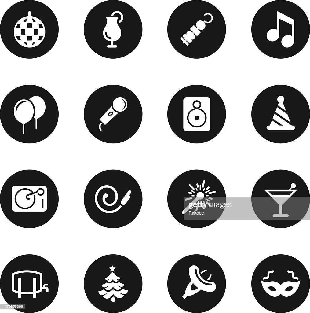 Party icons black circle series vector art getty images for Black circle vector