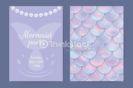 Party invitation holographic fish or mermaid scales pearls and frame party invitation holographic fish or mermaid scales pearls and frame vector illustration stopboris Gallery