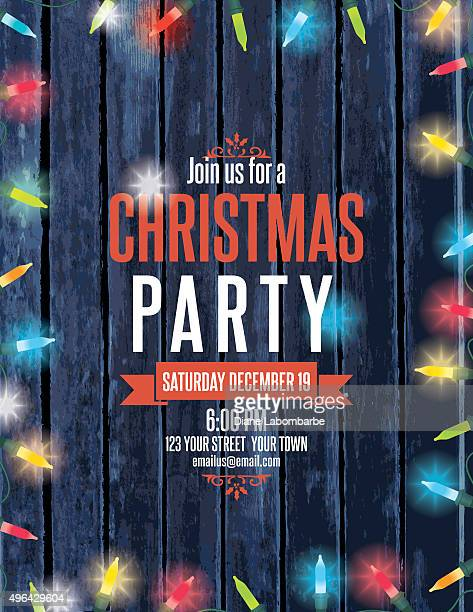 Party Invitation On Wood With Christmas Lights and Candy canes