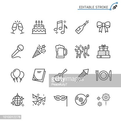 Party line icons. Editable stroke. Pixel perfect. : Vector Art