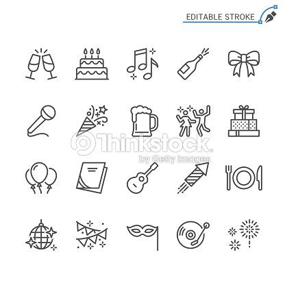 Party line icons. Editable stroke. Pixel perfect. : stock vector
