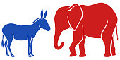 Vector illustration of a blue donkey and a red elephant, representing the Democratic and Republican political parties in the United States. The donkey and elephant are on separate layers, easily separ