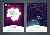 Modern music festival. Danse party posters design. Future electronic sound. Modern art style.