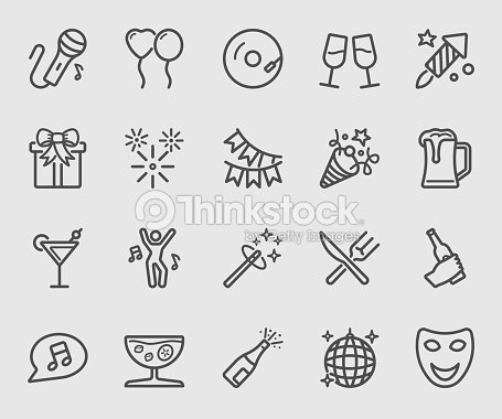 Party time line icon : stock vector
