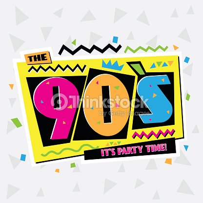 party time the 90s style label vector illustration ベクトルアート