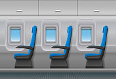 Passenger airplane vector interior. Aircraft indoor cabin with portholes and chairs seats. Vector illustration EPS 10.