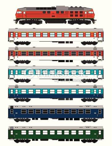Passenger Train Set Vector Art | Thinkstock