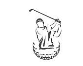 Modern Passionate Golf Athlete In Swinging Pose Symbol Illustration