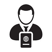 Passport Icon Vector With Male Person Profile Avatar Symbol for International Identity and Travel in Glyph Pictogram illustration