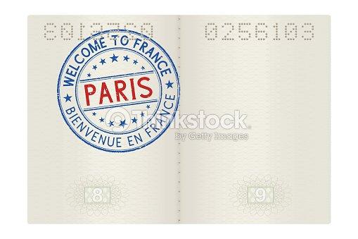 Páginas Del Pasaporte Con Bienvenida Al Sello De París Signo Color ...