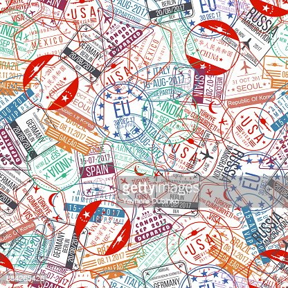 Passport stamp seamless pattern. International arrivals sign rubber, visa airport stamps and watermarks : Vector Art
