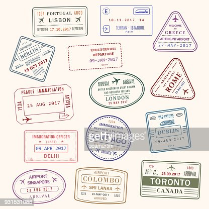 Passport stamp vector city and country icons set : stock vector