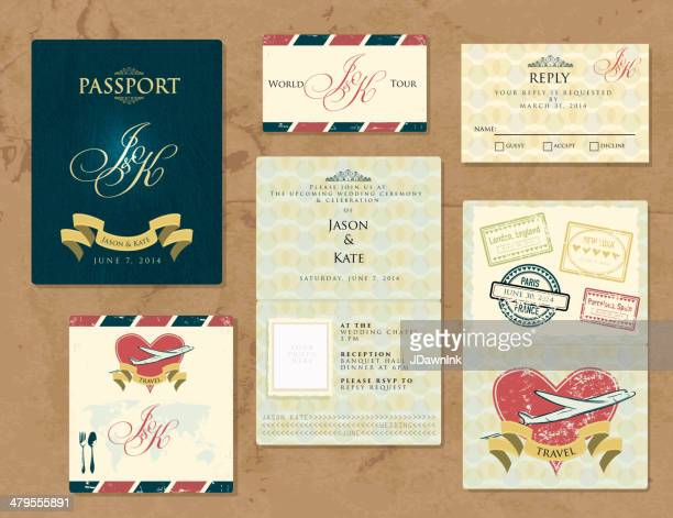 Passport wanderlustWedding Invitation theme set