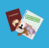 Passport with approved stamp. Identification Document and stamp. Vector illustration in flat style