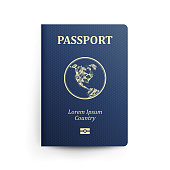 Passport With Map. Realistic Vector Illustration. Blue Passport With Globe. International Identification Document. Front Cover