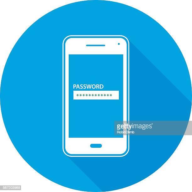 Password Smart Phone Round Icon
