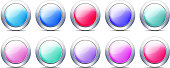 Pastel Color Buttons, Vector Icon set with Metal Border