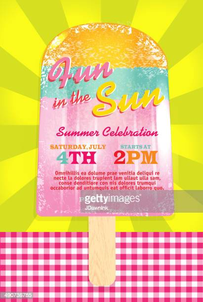 Pastel popsicle summer party template invitation design