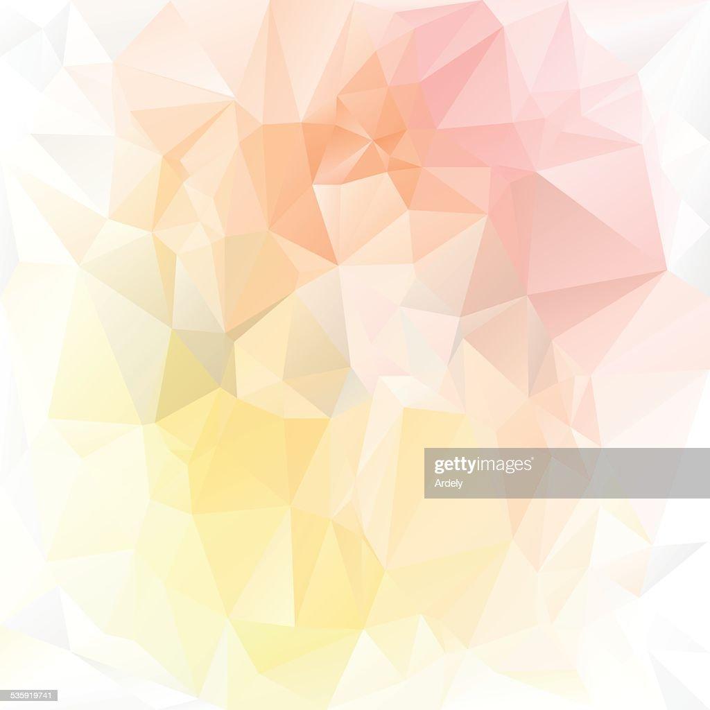 pastel yellow orange pink polygonal triangular pattern background : Vector Art