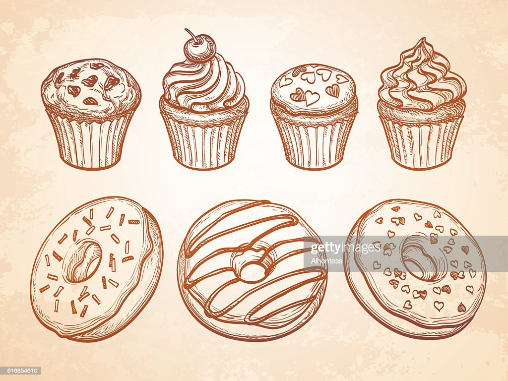 Pastry sweets collection : Vector Art
