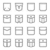 Patch Pocket Style Vector Line Icon Set. Contains such Icons as Regular Dress, Classic Flap, Safari Pocket, Cargo Pocket and more. Expanded Stroke