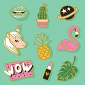 Fashion cute enamel pin, patches, stickers set. Pop art fashion vector illustration.