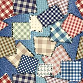 Seamless background pattern. Patchwork on denim fabric.