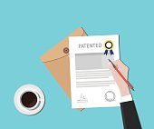 patented patent document with badge and stamp vector graphic illustration