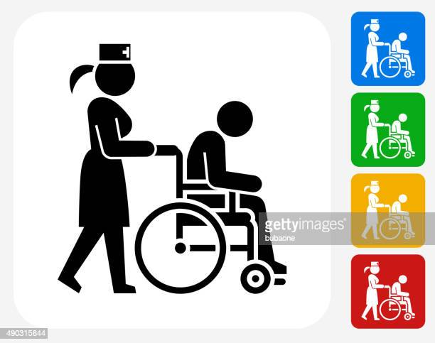 Patient on Wheelchair and Female Nurse Icon Flat Graphic Design