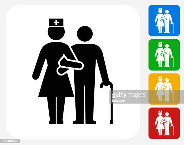 Patient with Female Nurse Icon Flat Graphic Design