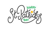 Patricks Day. Happy St. Patrick's Day vector lettering label.