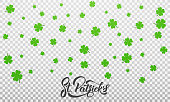 Patrick's Day. Clover shamrock leaves background and St. Patrick's lettering. St. Patricks Day background.
