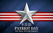 Patriot day. Design for postcard, flyer, poster, banner. 11th of september. We Will Never Forget
