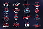 Patriot day typographic emblems set. 9-11 logo, We Will Never Forget. Vector illustation. 11 september. Design for postcard, flyer, poster, banner or t-shirt.