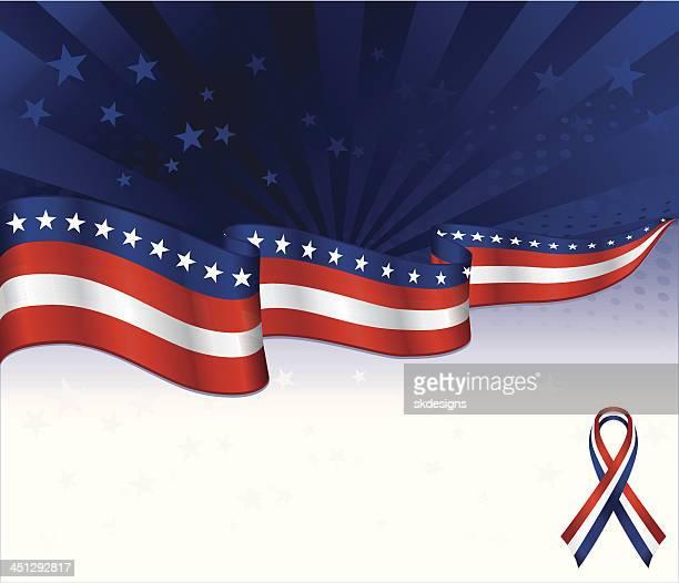 Sfondo patriottico con nastro di consapevolezza opzionale: Rosso, bianco e blu