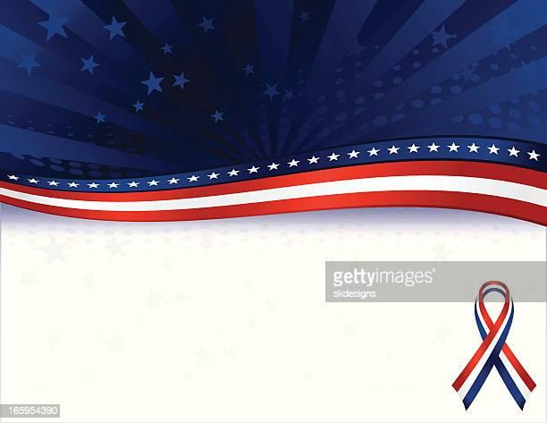 Sfondo patriottico con stelle sovrapposizione: Rosso, bianco e blu