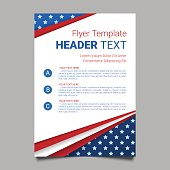 USA patriotic background. Vector illustration with text, stripes and stars for posters, flyers, decoration in colors of american flag. Colorful template for National celebrations, political campaigns.