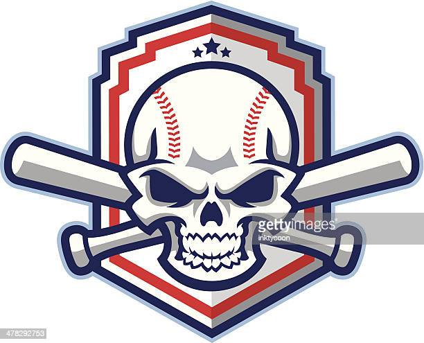 Patriótica estadounidense de béisbol & Softball cráneo con murciélagos